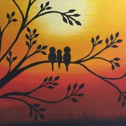 sunset , 10 x 8 inch, minal jain,nature paintings,paintings for living room,canvas,acrylic color,10x8inch,GAL018014992Nature,environment,Beauty,scenery,greenery,loves,birds,together