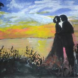 romantic couple , 8 x 12 inch, suchandra das,love paintings,paintings for dining room,drawing paper,watercolor,8x12inch,GAL016724994heart,family,caring,happiness,forever,happy,trust,passion,romance,sweet,kiss,love,hugs,warm,fun,kisses,joy,friendship,marriage,chocolate,husband,wife,forever,caring,couple,sweetheart