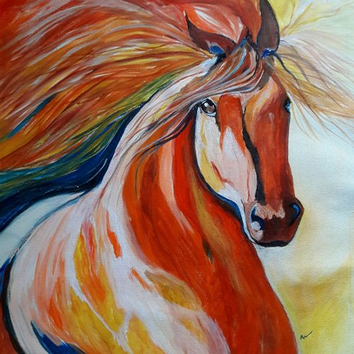 abstract art - horse, 18 x 19 inch, indhuja raghavan,abstract paintings,paintings for living room,horse paintings,canvas,acrylic color,18x19inch,GAL01104995