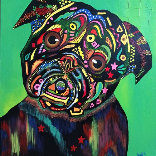 dog - man's best friend, 30 x 24 inch, amita dand,contemporary paintings,paintings for office,dog painting,canvas board,acrylic color,30x24inch,GAL014674997