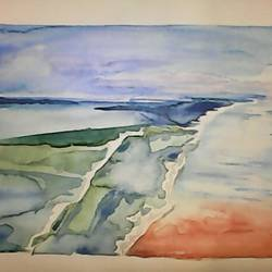 by the sea , 14 x 10 inch, pubali  chakraborty,nature paintings,paintings for dining room,cartridge paper,watercolor,14x10inch,GAL018024998Nature,environment,Beauty,scenery,greenery