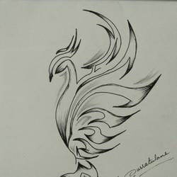 phoenix, 5 x 7 inch, qurratul  ane,pop art drawings,paintings for bedroom,thick paper,pen color,5x7inch,GAL03764999