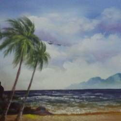 nature-scenery, 18 x 24 inch, vaishali desai,nature paintings,paintings for living room,landscape paintings,canvas,acrylic color,18x24inch,GAL01650Nature,environment,Beauty,scenery,greenery,trees,water,beautiful,leaves,flowers,coconut tree