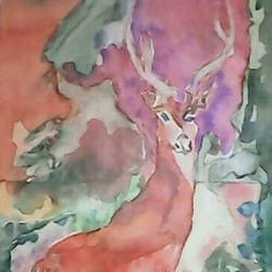 nocturnal, 10 x 18 inch, pubali  chakraborty,animal paintings,paintings for living room,cartridge paper,watercolor,10x18inch,GAL018025001