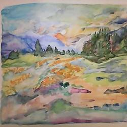 kashmir valley, 13 x 12 inch, pubali  chakraborty,nature paintings,paintings for living room,handmade paper,watercolor,13x12inch,GAL018025002Nature,environment,Beauty,scenery,greenery