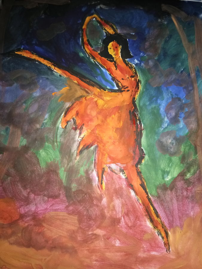 a ballet dancer, 8 x 11 inch, ananya pattnaik,figurative paintings,paintings for dining room,drawing paper,poster color,8x11inch,GAL017885004