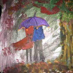 lovers walking in a forest, 8 x 11 inch, ananya pattnaik,landscape paintings,paintings for dining room,drawing paper,poster color,8x11inch,GAL017885005