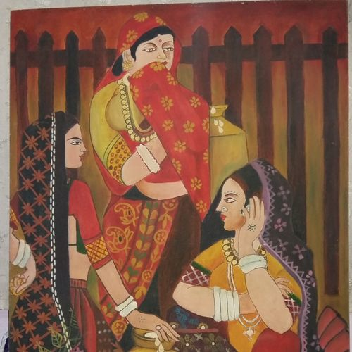 women with pots, 31 x 47 inch, suman chakraborty,figurative paintings,paintings for living room,hardboard,oil paint,31x47inch,GAL0265501