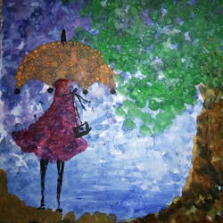 a girl in rain, 8 x 11 inch, ananya pattnaik,cityscape paintings,paintings for bedroom,drawing paper,poster color,8x11inch,GAL017885010