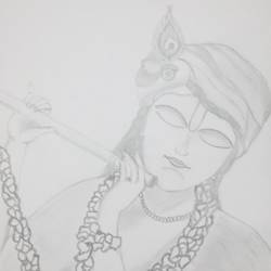 krishna, 9 x 11 inch, mrs. kalyani lahon,radha krishna drawings,paintings for living room,drawing paper,pencil color,9x11inch,GAL06575016