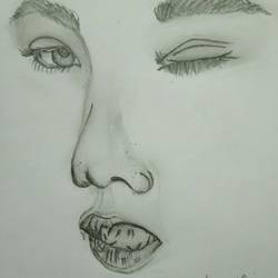 sketch of a girl, 8 x 11 inch, ananya pattnaik,art deco drawings,paintings for bedroom,drawing paper,pencil color,8x11inch,GAL017885020