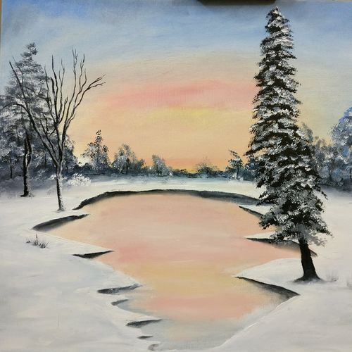 frozen land, 24 x 20 inch, ambarish roy,landscape paintings,paintings for living room,canvas,oil,24x20inch,GAL018075022
