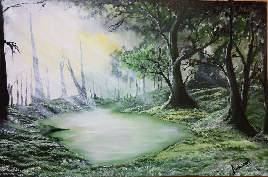 sunlight forest landscape, 36 x 24 inch, ambarish roy,landscape paintings,paintings for dining room,canvas,oil paint,36x24inch,GAL018075023