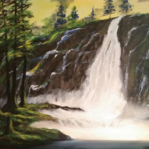 hillside waterfall , 24 x 20 inch, ambarish roy,landscape paintings,paintings for dining room,canvas,oil,24x20inch,GAL018075024
