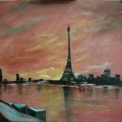 paris, 24 x 20 inch, ambarish roy,landscape paintings,paintings for dining room,canvas,oil paint,24x20inch,GAL018075027