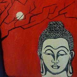 buddha, 12 x 10 inch, anushka johnson,buddha paintings,paintings for living room,canvas,acrylic color,12x10inch,religious,peace,meditation,meditating,gautam,goutam,buddha,red,moon,GAL018095028