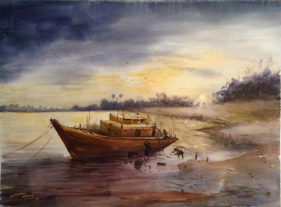 the boat!!, 22 x 30 inch, sourabh  nema,landscape paintings,paintings for living room,fabriano sheet,watercolor,22x30inch,GAL0135503
