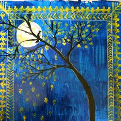 night out, 8 x 11 inch, ananya pattnaik,nature paintings,paintings for bedroom,drawing paper,acrylic color,8x11inch,GAL017885036Nature,environment,Beauty,scenery,greenery,night,trees,moon,moonlight,bird,leaves,nightout