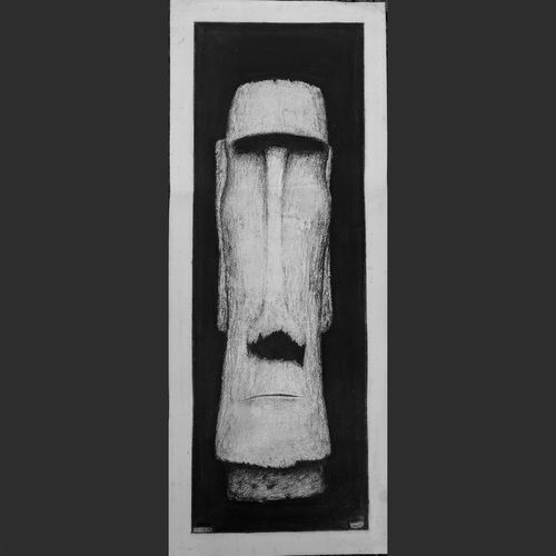 moai - the easter island head, 11 x 30 inch, manu  lal,figurative drawings,paintings for living room,cartridge paper,charcoal,11x30inch,GAL018215037
