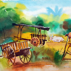 bullockcarts, 20 x 14 inch, bharat ghate,landscape paintings,paintings for living room,paper,watercolor,20x14inch,GAL018225038