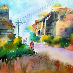 old palace, 20 x 14 inch, bharat ghate,landscape paintings,paintings for living room,handmade paper,watercolor,20x14inch,GAL018225039