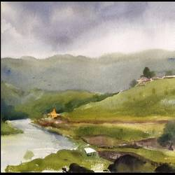 kondeswar, 22 x 15 inch, sourabh  nema,nature paintings,paintings for bedroom,fabriano sheet,watercolor,22x15inch,GAL0135504Nature,environment,Beauty,scenery,greenery