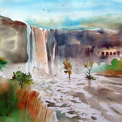 ellor cave waterfall, 20 x 14 inch, bharat ghate,landscape paintings,paintings for living room,water fountain paintings,handmade paper,watercolor,20x14inch,GAL018225040