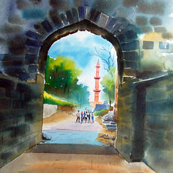 daulatabad fort, 14 x 20 inch, bharat ghate,landscape paintings,paintings for living room,handmade paper,watercolor,14x20inch,GAL018225042