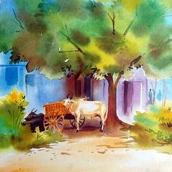 bullockcart with ox, 14 x 20 inch, bharat ghate,landscape paintings,paintings for living room,handmade paper,watercolor,14x20inch,GAL018225043