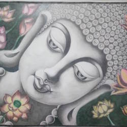 peaceful buddha, 28 x 20 inch, mohanraj sivanandam,buddha paintings,paintings for living room,hardboard,pastel color,28x20inch,religious,peace,meditation,meditating,gautam,goutam,buddha,grey,flowers,lotus,GAL014145045