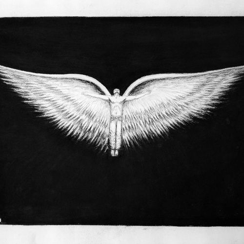 wings of freedom.., 16 x 12 inch, manu  lal,conceptual drawings,paintings for living room,cartridge paper,charcoal,16x12inch,GAL018215047