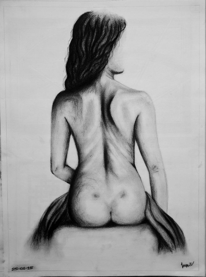 bare soul.., 12 x 16 inch, manu  lal,figurative drawings,paintings for living room,cartridge paper,charcoal,12x16inch,GAL018215048