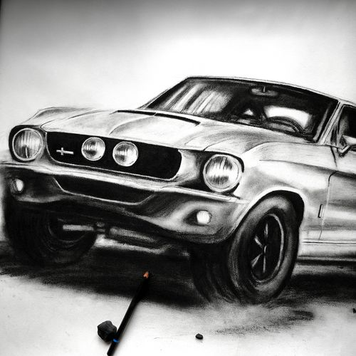 1967 shelby gt500 , 30 x 22 inch, manu  lal,realism drawings,paintings for living room,cartridge paper,charcoal,30x22inch,GAL018215049