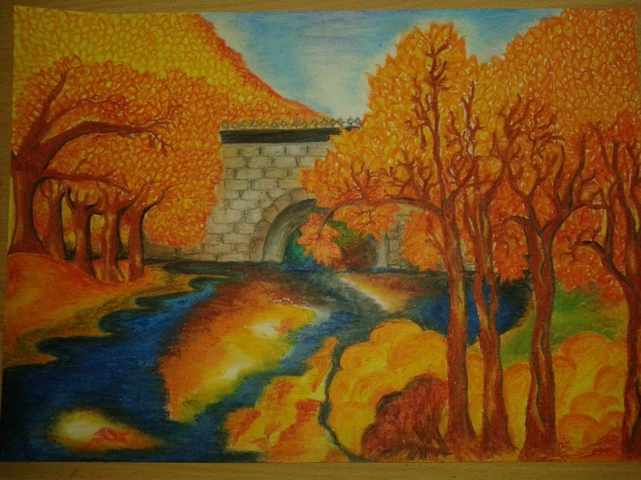 autumn bridge, 12 x 7 inch, nidhi gupta,landscape paintings,paintings for living room,thick paper,pastel color,12x7inch,GAL0248505