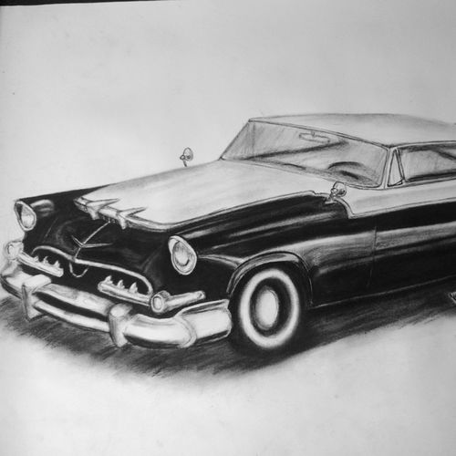1955 dodge royal lancer., 30 x 22 inch, manu  lal,realism drawings,paintings for living room,cartridge paper,charcoal,30x22inch,GAL018215050