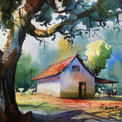 farm house, 11 x 11 inch, mahesh  honule,landscape paintings,paintings for living room,renaissance watercolor paper,watercolor,11x11inch,GAL0131506