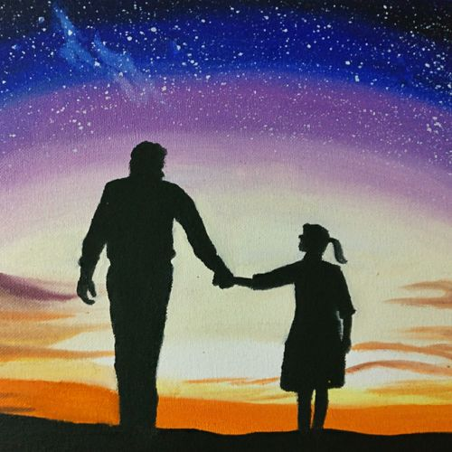 father's love, 12 x 10 inch, khushbu soni,expressionist paintings,paintings for living room,canvas board,oil,12x10inch,GAL012265063