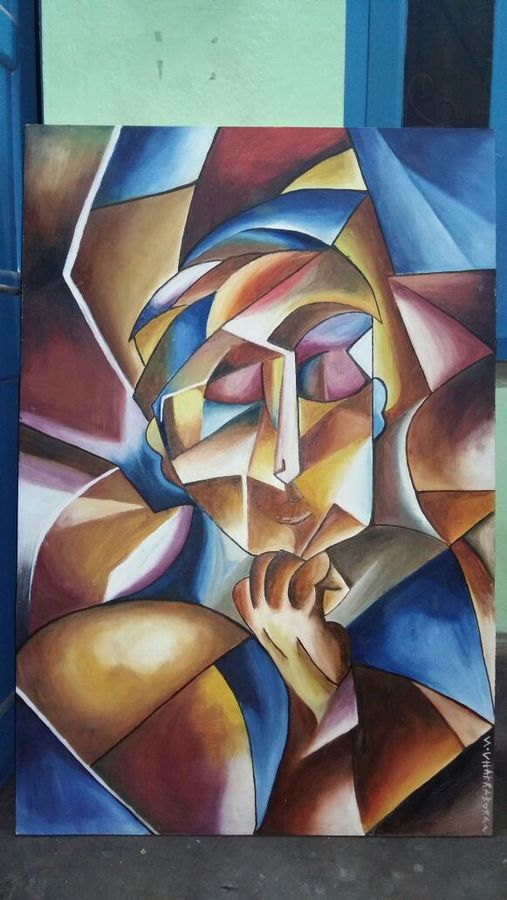 thinking , 31 x 47 inch, suman chakraborty,abstract expressionist paintings,paintings for living room,hardboard,oil,31x47inch,GAL0265507