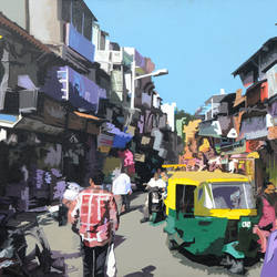 ahmadabad bazaar, 48 x 30 inch, raj kumar sharma ,street art,paintings for office,cityscape paintings,canvas,acrylic color,48x30inch,GAL017695074