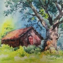house, 12 x 16 inch, mahesh  honule,landscape paintings,paintings for living room,renaissance watercolor paper,watercolor,12x16inch,GAL0131508