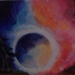 colourful universe, 14 x 18 inch, yash kumar mehra,paintings for living room,modern art paintings,canvas,acrylic color,14x18inch,GAL018385080