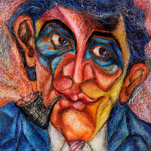 a man who smoke pipe, 12 x 12 inch, jayabalan dhamodaran,portrait paintings,paintings for living room,canvas,pastel color,12x12inch,GAL018295081