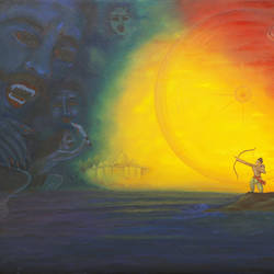 good-evil war, 36 x 24 inch, rajesh sharma,figurative paintings,paintings for office,canvas,oil,36x24inch,GAL05085082