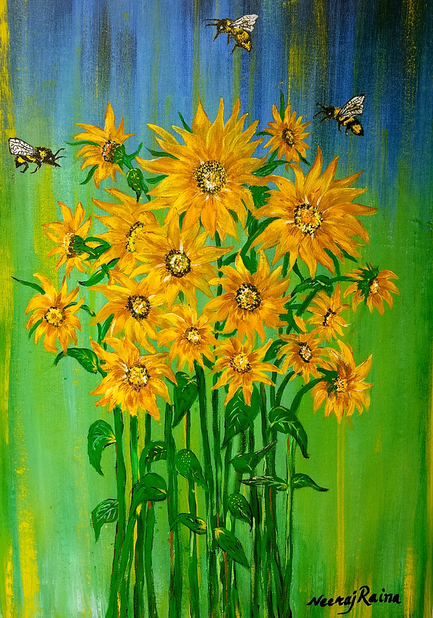 bumble bee and their sunflower inspiration story, 24 x 36 inch, neeraj raina,abstract paintings,paintings for living room,canvas,acrylic color,24x36inch,GAL0273509