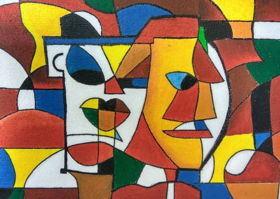 faces, 30 x 24 inch, archita pathak,cubist paintings,paintings for dining room,canvas,oil paint,30x24inch,GAL018455091