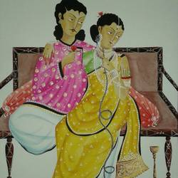 babu and bibi, 13 x 15 inch, bhaskar chitrakar,paintings for living room,love paintings,fabriano sheet,watercolor,13x15inch,GAL018465097heart,family,caring,happiness,forever,happy,trust,passion,romance,sweet,kiss,love,hugs,warm,fun,kisses,joy,friendship,marriage,chocolate,husband,wife,forever,caring,couple,sweetheart