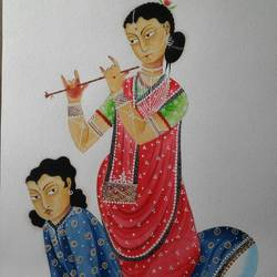 bibi playing flute, 12 x 15 inch, bhaskar chitrakar,paintings for living room,figurative paintings,modern art paintings,kalighat painting,fabriano sheet,watercolor,12x15inch,GAL018465098