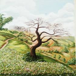 nature- a tree, 16 x 20 inch, vaishali desai,nature paintings,paintings for living room,canvas,acrylic color,16x20inch,GAL01651Nature,environment,Beauty,scenery,greenery,trees,beautiful,leaves,flowers