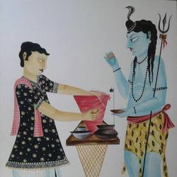 lord shiva is having puchkas, 12 x 15 inch, bhaskar chitrakar,paintings for living room,lord shiva paintings,fabriano sheet,watercolor,12x15inch,GAL018465100