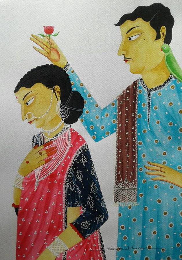 babu and bibi in romantic mood, 12 x 15 inch, bhaskar chitrakar,paintings for living room,figurative paintings,kalighat painting,fabriano sheet,watercolor,12x15inch,GAL018465101
